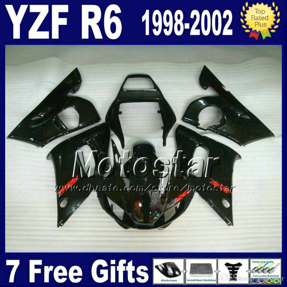 Zestaw do ciała Fairing ABS dla Yamaha YZF-R6 1998-2002 Wszystkie błyszczące czarne plastikowe nadwozie Set YZF600 YZFR6 98 99 00 01 02 VB32 + 7 prezenty