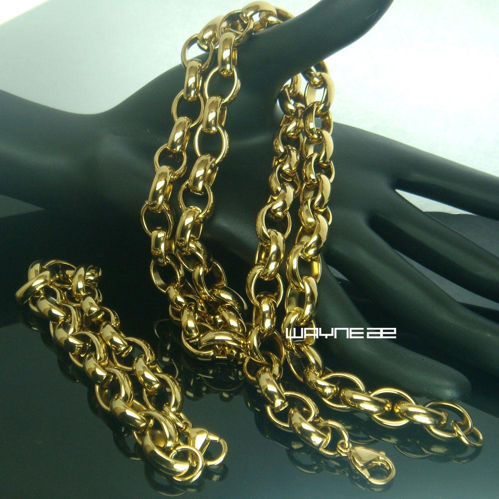 Bracciale in acciaio massiccio massiccio 18 carati tono oro 18 carati + bracciale N207b
