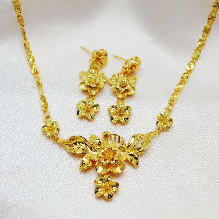 2019 Fashion Jewelry Women Wedding Set 24k Yellow Gold Filled