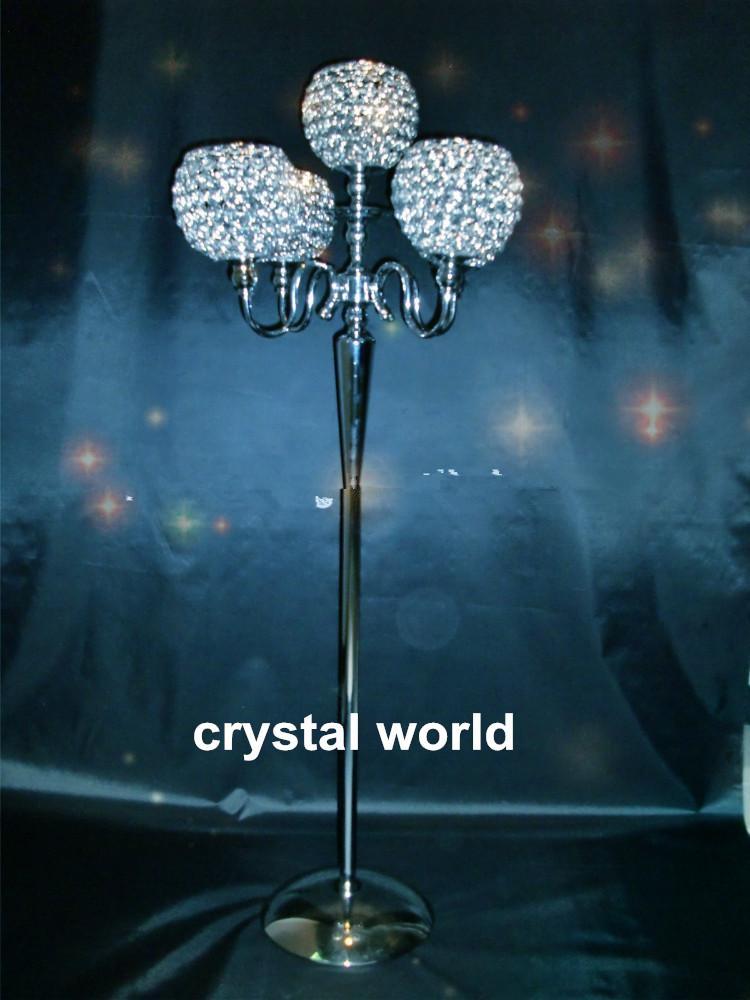 главная подсвечники / кристально прозрачные канделябры с цветочной чашей / стол центральным для свадьбы / партии декор