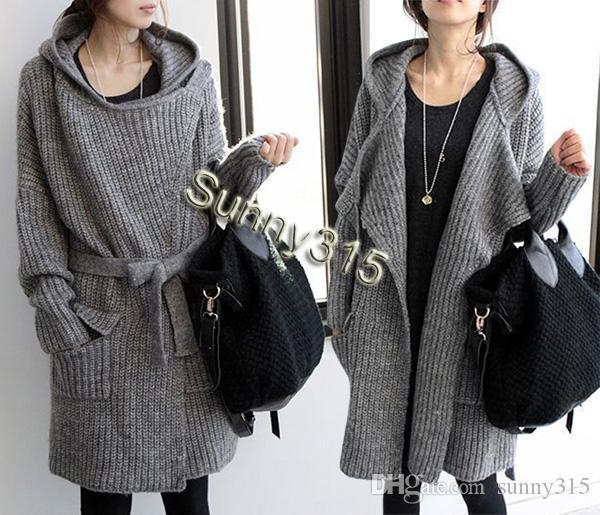 Fall Moda Koreański Plus Size Kobiety Scargan Kapturem Swetry Panie Elegance Wełna Wełna Długi Sweter Płaszcz Zimowy Znosić