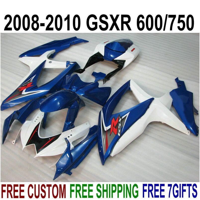 ABS fairing kit for SUZUKI GSX-R750 GSX-R600 2008 2009 2010 K8 K9 blue white fairings set GSXR 600 750 08-10 TA11