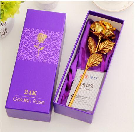 عيد الحب الإبداعية الحرفية هدية عيد ميلاد الزفاف 24K الذهب احباط مطلي وارتفع الذهب حبيب روز زهرة اصطناعية