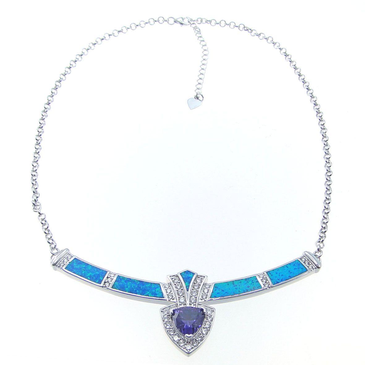 Mode Smycken Halsband Blå Opal Halsband Brand Opal Silver Smycken Elektropläterad Rhodium DR03011703N Gratis frakt