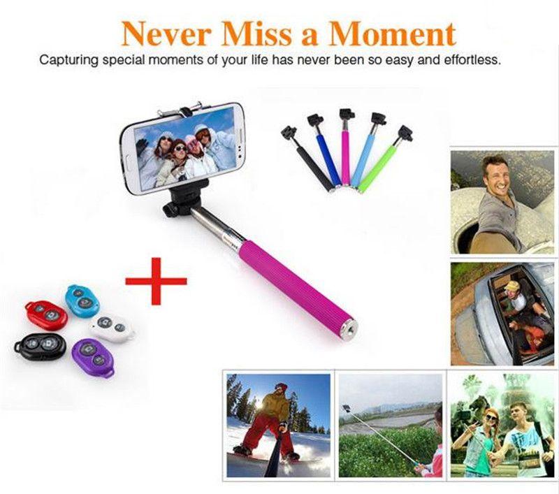 Extendable Selfie Monopod Selfie Stick Handheld Monopod+Clip Holder+Bluetooth Camera Shutter Remote Controller for iPhone Samsung