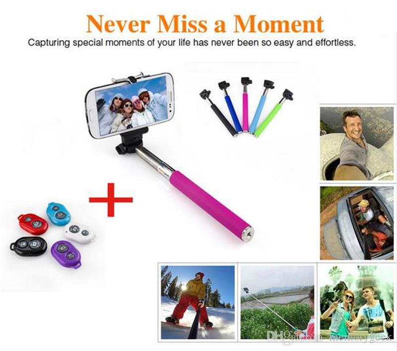 확장 가능한 Selfie Monopod Selfie 스틱 핸드 헬드 Monopod + 아이폰에 대한 클립 홀더 + 블루투스 카메라 셔터 리모콘 삼성