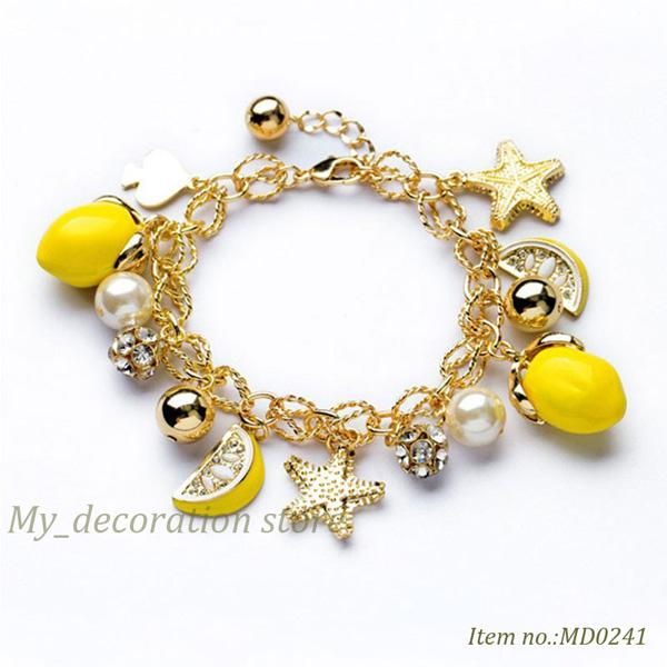 OL 스타일 패션 물고기 별과 레몬 디자인 싼 가격 매력과 팔찌 여성 크리스탈 팔찌 아름다운 선물 상자