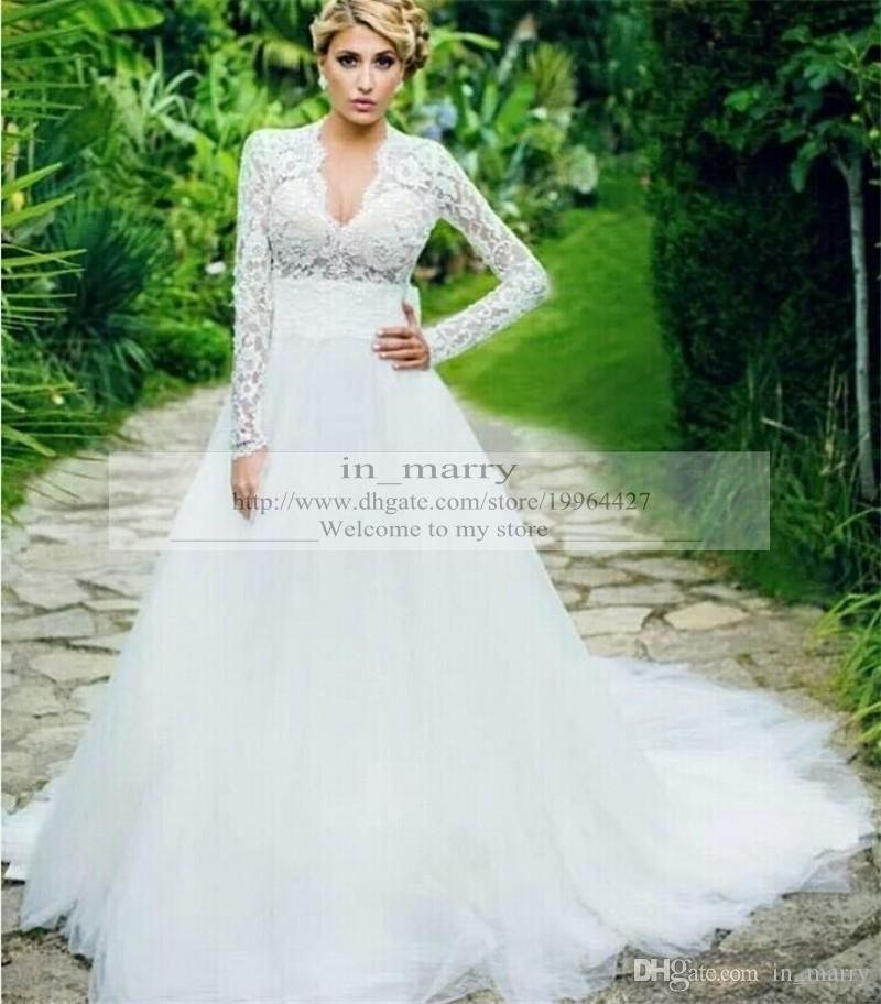 Discount Charmig Vintage Lace Plus Size Wedding Dresses 2015 A Line ...