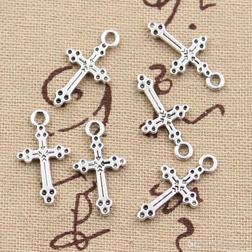 300pcs подвески крест 15*7 мм античный, цинковый сплав кулон fit, старинные Тибетского серебра, DIY браслет ожерелье