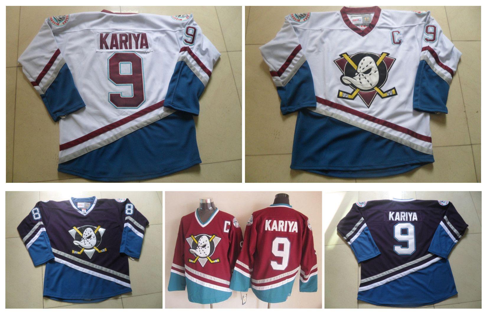 Hóquei no Gelo dos homens CCM Jersey Barato Mighty Patos # 9 Paul Kariya Jersey Retro Vintage Costurado Logotipo China Anaheim Ducks Jerseys