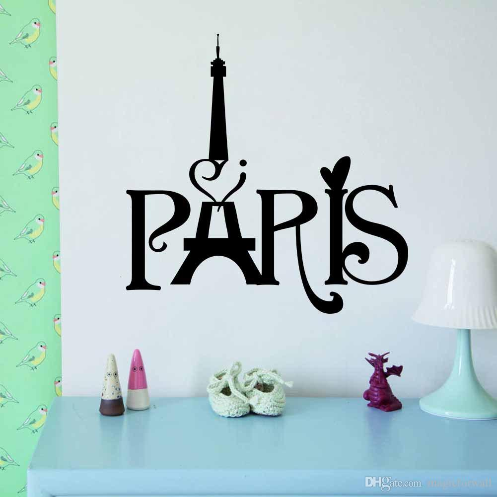 Removable wall art graphic - Black English Words Paris Tower Wall Art Mural Decor Transform Wall Decal Sticker Living Room