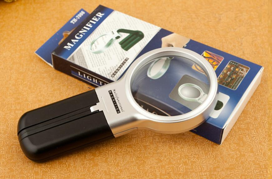 60mm Magnifier with LED lighting 20pcs a bag, illuminated reading magnifier old desktop handheld multi-function folding magnifier TH7006