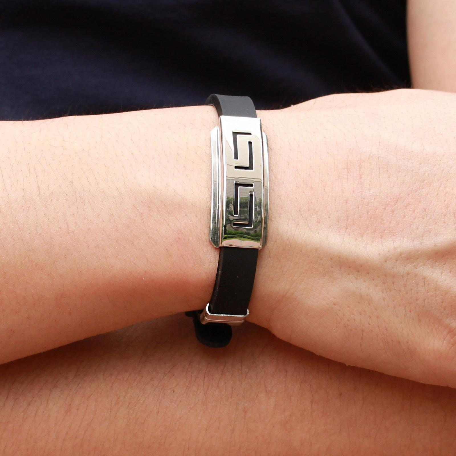 Men Silver Punk Stainless Steel Wristband Clasp Cuff Bangle Unisex/'s Bracelet