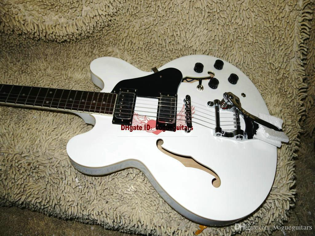 사용자 지정 화이트 할로우 바디 335 재즈 일렉트릭 기타 모든 색상 기타 사용자 정의 기타 중국 공장 무료 배송