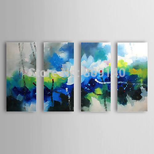 2019 Chinese Lotus Flower Abstract Oil Painting Canvas Artwork Handmade Modern Home Office Hotel Wall Art Decor Decoration Free Ship No Frame From