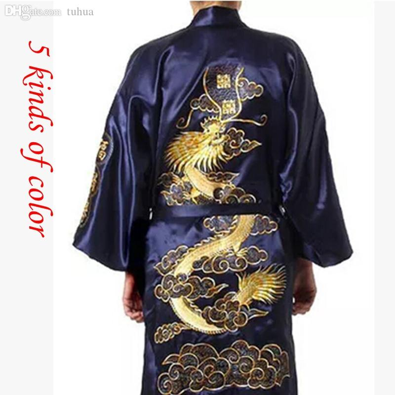 Silk Dragon Robes Chinese Men's Silk Satin Robe Embroider Kimono Bath bathrobe Men Dressing Gown For Men Summer Sleepwear