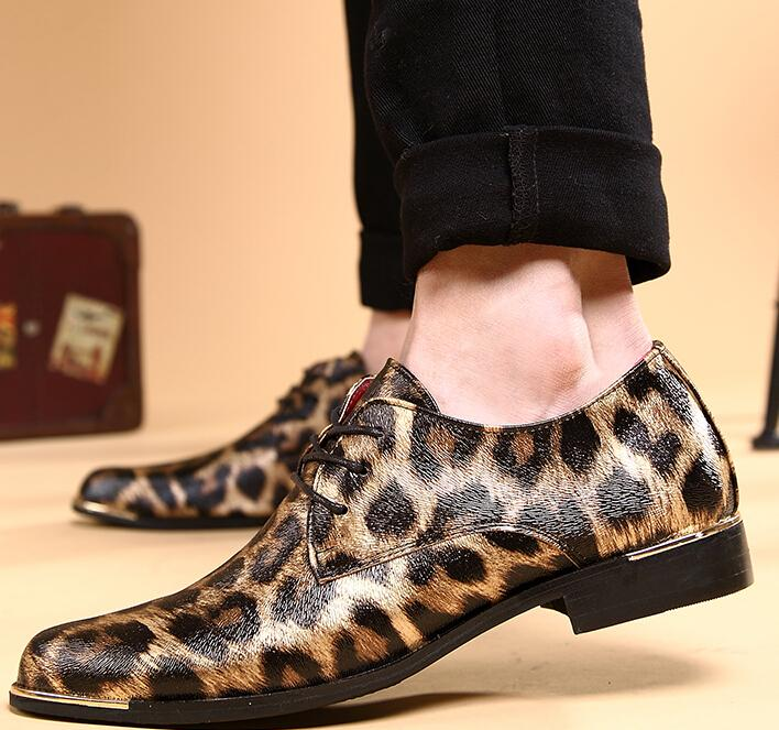 New men/'s dress fashion wedding lace-up leatherette animal print brown shoes