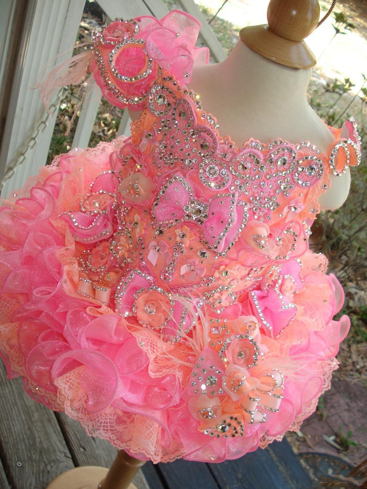 2021 Little Girls Pageant Dresses Rhinestones Beaded Handmade Flowers Toddler Glitz Mini Cupcake Gorgeous Flower Girl Dresses Lovely