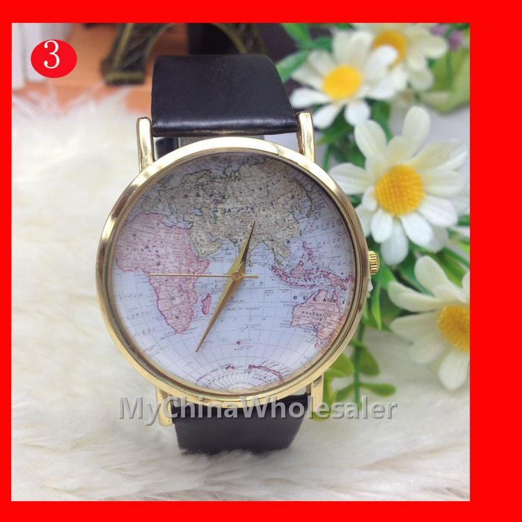 시계 여성 새로운 패션 벨트 여성 시계 고품질의 시계 빈티지 스타일 세계지도 번호 번호 구리 쉘 저렴한 가격 시계