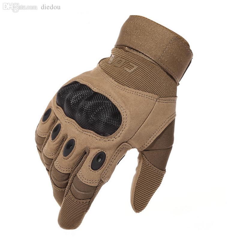 Großhandels-US Army taktische Handschuhe im Freien voller Finger rutschfeste Kohlefaser Schildpatt Kampf Motorrad Rennhandschuh