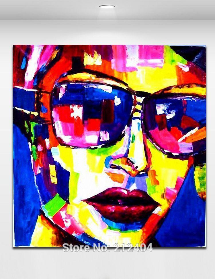Cool Glasses Girl Palette Knife Figure Painting Handmade Oil Painting on Canvas Living Room Bar Wall Decor Art