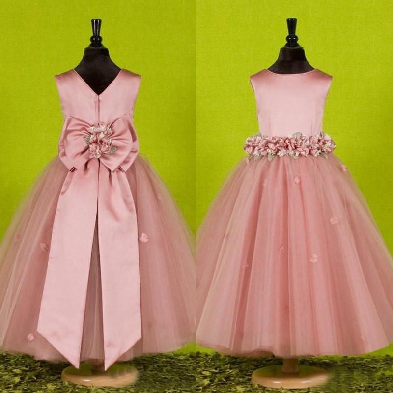 Real Sample Girls Cheap Pageant Dresses Dusky Pink Flower Girl's Dress Jewel Neck Sleeveless Handmade Flowers Petals and Oversize Bow