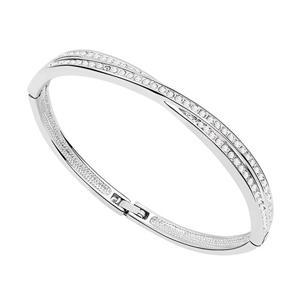 Brazaletes de pulsera para mujer hechos con joyas checas Preciosa Cristales de oro blanco de 18K con relleno de moda 6826