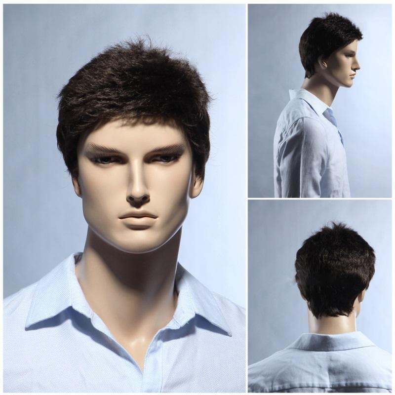 100% echte natürliche Haar-Männer schließen volle volle schwarze schwarze Perücken-Haarteil-Toupee RJ-364 ab
