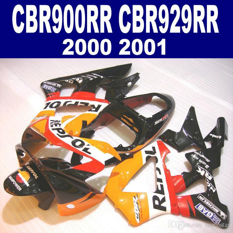 7 선물 용품 HONDA CBR900RR 페어링 키트 CBR929 2000 2001 블랙 오렌지 REPSOL CBR 929 RR CBR929RR 페어링 HB4 세트