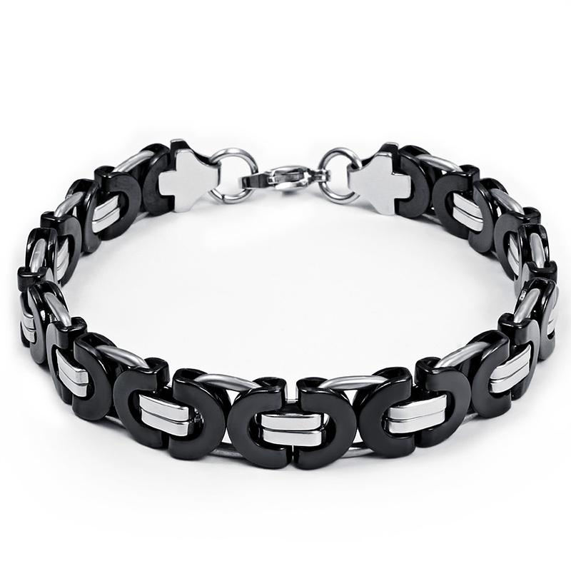 Fashion Style Top Selling Classical Handmade 8mm Stainless steel Silver Black Two Tone Flat Byzantine Chain Bracelet 8.66''