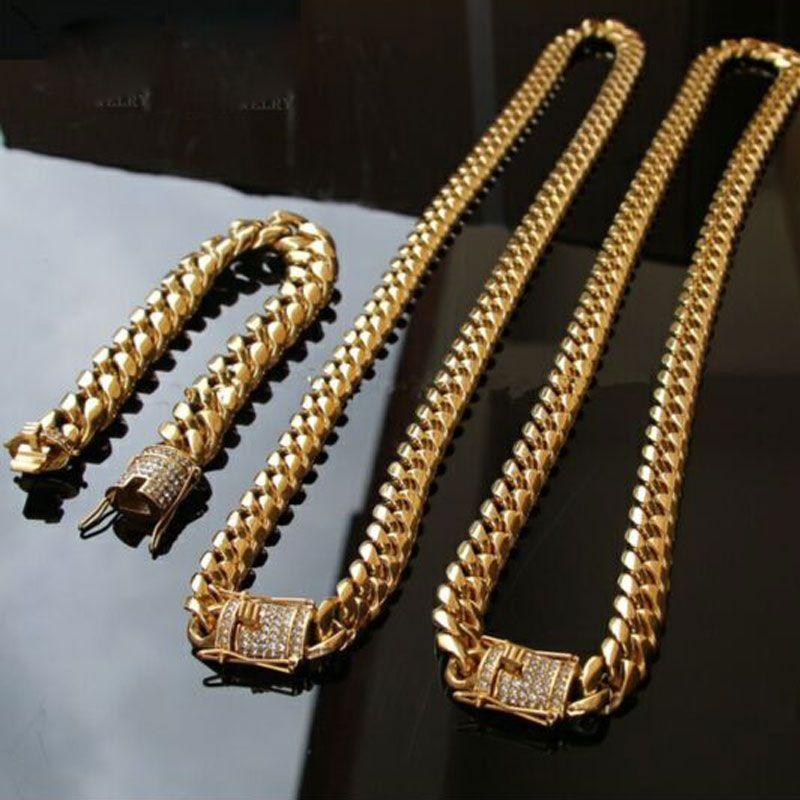 Collar de acero inoxidable 316L de 14 mm para hombre fresco, con cadena de eslabones cubanos, cadena de eslabones cubanos y pulseras con cerradura de broche de diamante 2 piezas