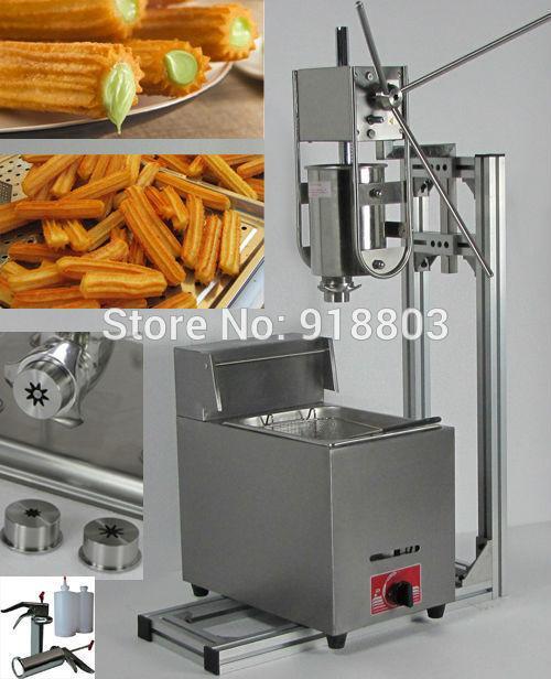 4 em 1 3L Manual Churros Maker + Suporte de Trabalho + 6L GLP Gás Fritadeira + 700 ml Churros Máquina De Enchimento