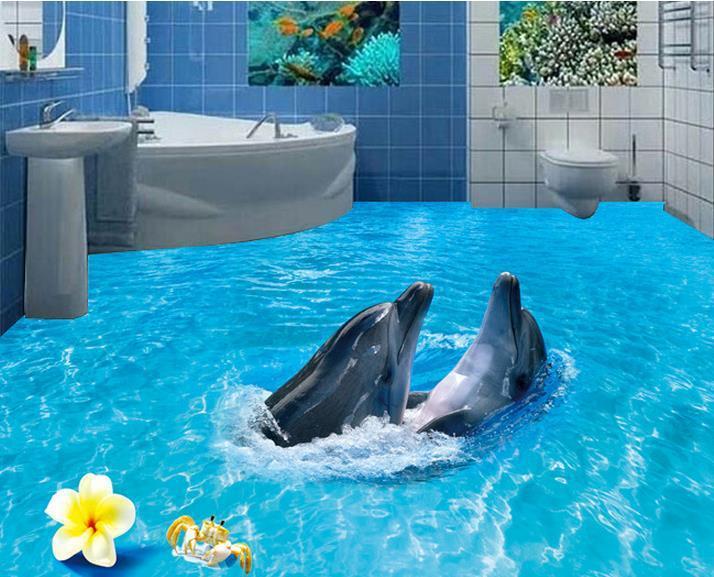 Custom photo floor wallpaper 3D stereoscopic 3D floor Dolphins 3d mural PVC wallpaper self-adhesion floor wallpaer 20157018