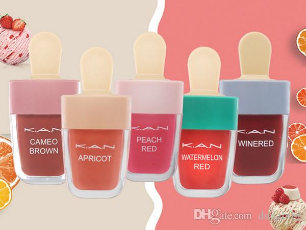 NEW ARRIVAL ICE CREAM LIP GLAZE 5 COLORS 5g 1LOT=5PCS WATERPROOF KEEP ONE DAY COLORFUL FREE SHIPPING