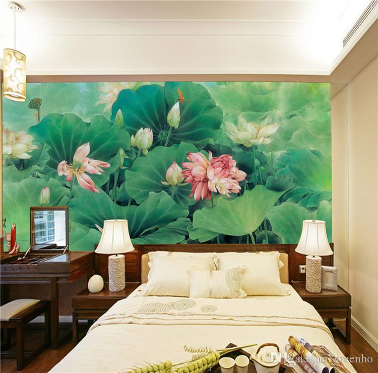Chinese Painting Photo Wallpaper Silk Wall Mural Lotus Pond Art Mural Decal  Natural Scenery Hotel Background