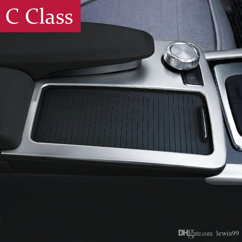 1x Steel Cup Holder Trim Cover For Mercedes C CLASS W204 C180 C200 2008-2014