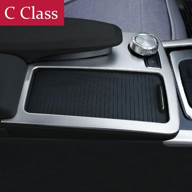 자동차 내부 센터 콘솔 기어 시프트 박스 스팽글 워터 컵 홀더 커버 트림 스트립 3D 스티커 메르세데스 벤츠 C 클래스 W204 180 200 2008-14