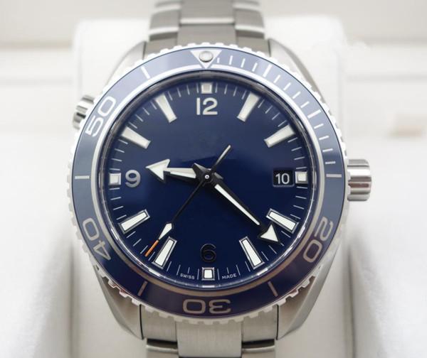 뜨거운 판매 고전적인 비즈니스 남성은 최고 품질의 남성 기계 자동 스테인레스 시계 블루 다이얼 스틸 손목 시계 (303)를보고