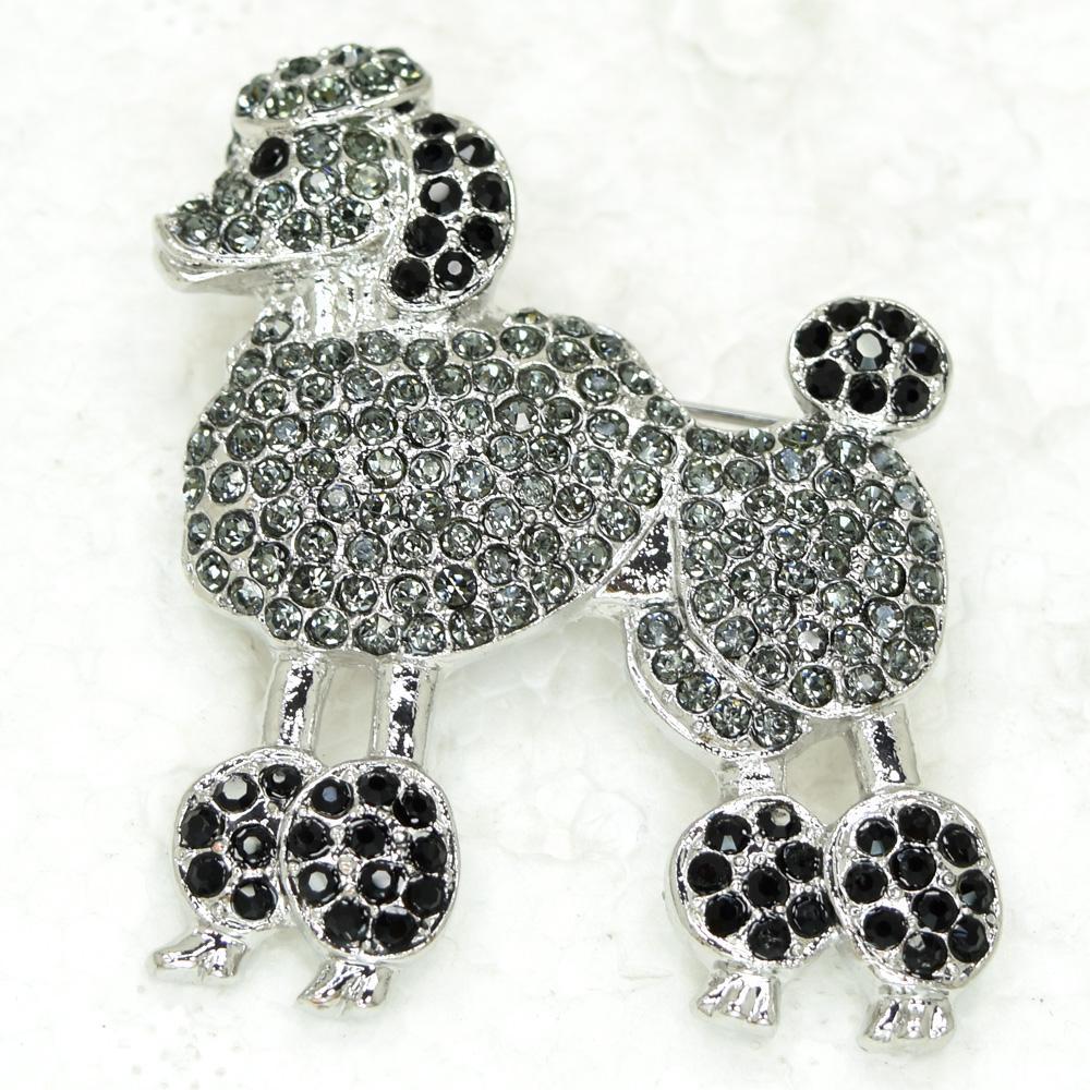 12 sztuk / partia Hurtownie Kryształ Rhinestone Pudel Pies Zwierząt Moda Kostium Broszka Pin C297