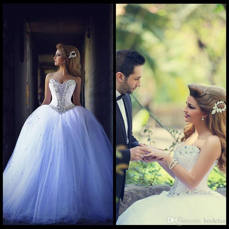 Vestido De Noiva 2020 Милая Кристалл Бисероплетение Длинное Бальное платье Свадебные платья, зашнуровать свадебное платье на заказ