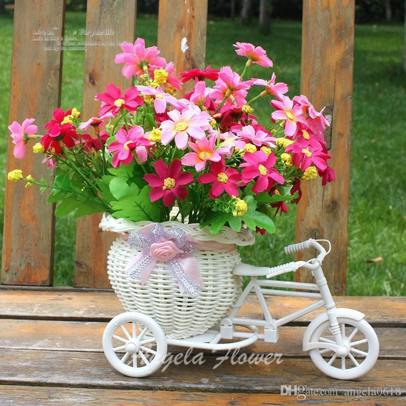 Оптовая 4 цвета хранения искусственные цветы корзины контейнер свадебный декор обеденный стол цветок украшения поплавок ротанг трехколесный поделки ваза