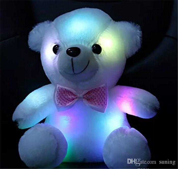 Teddy Bear Stuffed Animal Plush Doll Gift Toy For Girls  White Light Up LED