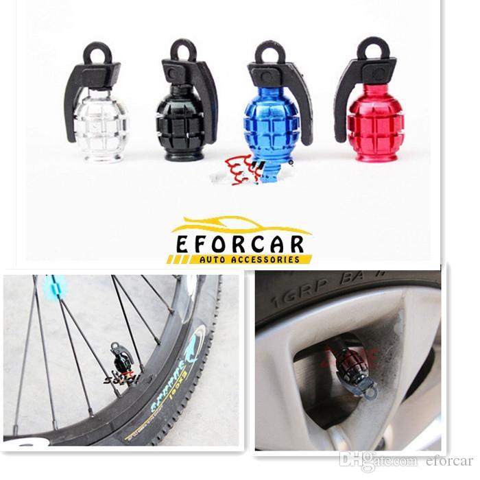 Cool aluminium matel cykel luftventil rör cap cykel däck hjulgranatform