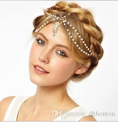 Fashion Wedding Bridal Hair Accessories for Women Metal Beaded Pearl Head Chain Indian Hair Jewelry Women Bridal Crown Ornaments HT15