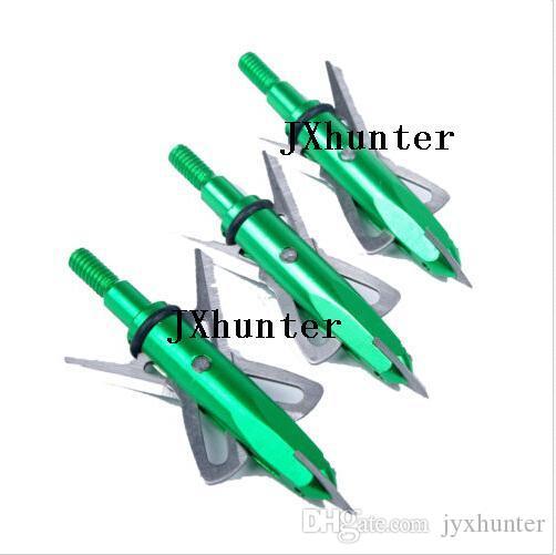 12pieces / lot tirant à la chasse flèches 100 têtes de flèches à grain 2 pointes de flèche flèche couleur verte livraison gratuite