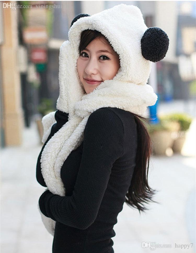 Wholesale-Super Lovely Fashion Fur Wool Gilrs Women Winter Warm Cartoon Panda Scarf Hat Gloves Set for Women Girls