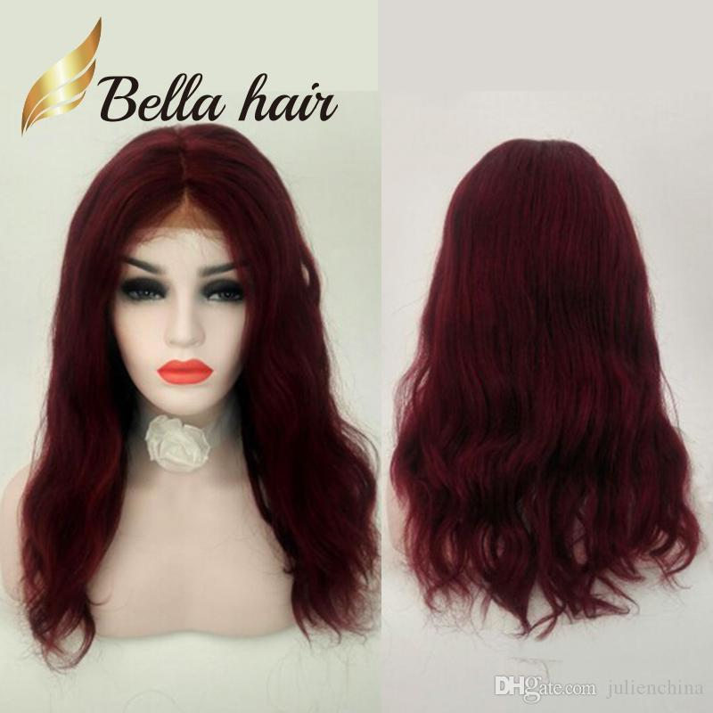 Christmas's Festival Red Color Chinese Human Hair Wig Long Natural Straight Hand Tied Beautiful Full Lace Wig Julienchina Bella Customized
