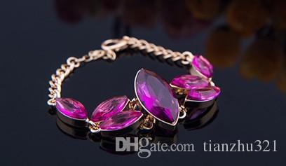 الوردي الماس waterdrops زفاف العروس مجموعة قلادة سوار (sp3658)