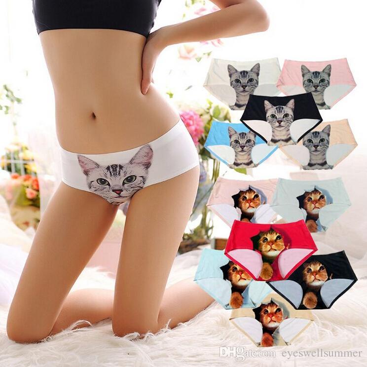 Senhoras Roupa Interior Bonito 3D Calcinha de Gato Sexy Mid Cintura Cueca Conforto Cuecas Calcinha Animal Para As Mulheres Nylon Calcinha Presentes