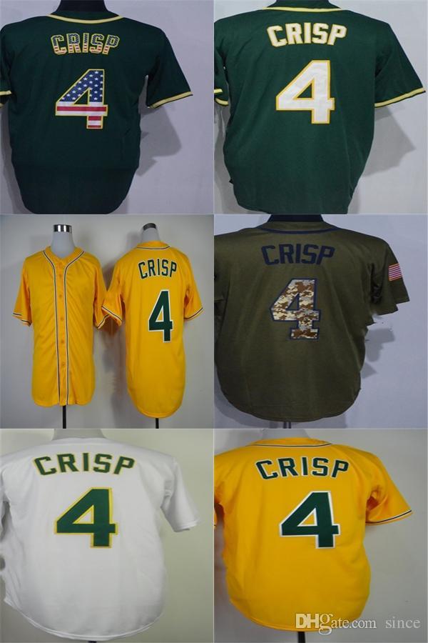 Oakland 4 Coco Crisp Jersey Factory Outlet Sport Hearts Вышивка Логотипы Белый Зеленый Желтый Высокое Качество Сшитые Прохладный Flex Бейсбол